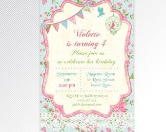 Shabby chic birthday printable invitation