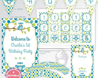 Editable blue owl printable party decoration package - INSTANT DOWNLOAD