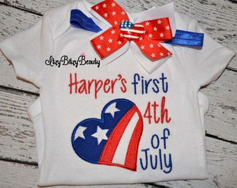 Baby girls my personalized first fourth 4th of July outfit set embroidered bodysuit headband lot