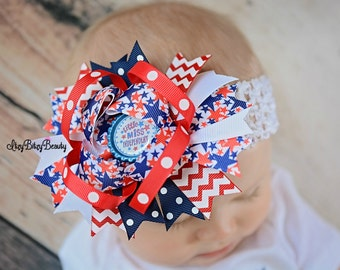 little miss independent fourth of July 4th OTT headband hair bow