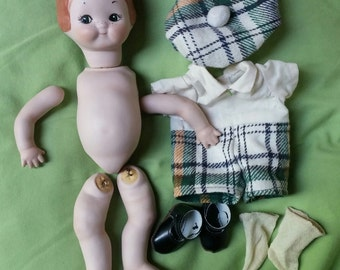Porcelain Doll Parts and Clothes for 12 inch Scottish Lassie Red Head Doll Making Supply Doll Head Limbs Tartan Outfit.