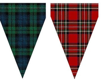 Scottish tartan plaid bunting flags download print 99p 2 flags on A4 sheet handmade party decorations Burns night, clan gatherings pennants