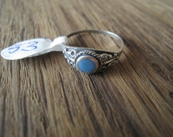 Sterling Silver Braided Blue Turquoise Ring Size 5.75 (53)