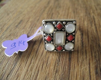 Sterling Silver Coral & MOP Gemstones Square Ring 9.5 (914)