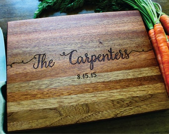 Personalized Cutting Board, Wedding Gift, Anniversary Gift, Last Name, Newlywed, Housewarming, Established Family Sign, Wood Cutting Board