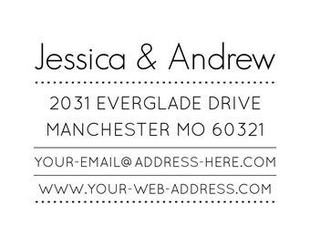 "Business Card Stamp, personalised address stamp, name, address, website, email, business card stamp, Etsy Shop Stamp, 2""x3"" (cas71)"