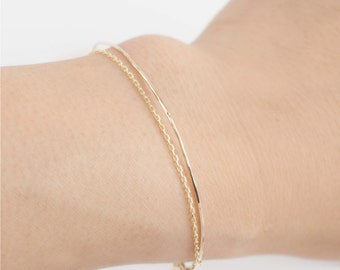 Yellow gold thin bangle bracelet drape chain, 14k solid yellow gold stacking bangle, Thin Dainty Simple Delicate Minimalist bangle gol-b104