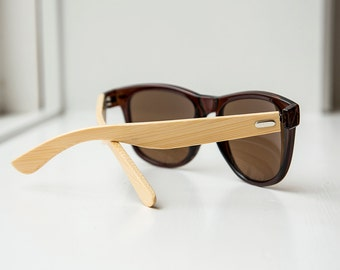 Brown Frame Bamboo Sunglasses - Wooden Sunglasses for Men, Wooden Sunglasses for Women, Wood Sunglasses