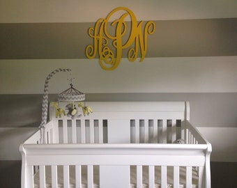 Large Wall Letters, Painted Script Monogram, Wooden Wall Monogram, Nursery Decor, Home Decor, Wedding Decor