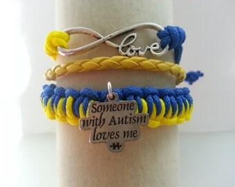 Autism 3 in one adjustable macrame para cord adjustable bracelet !