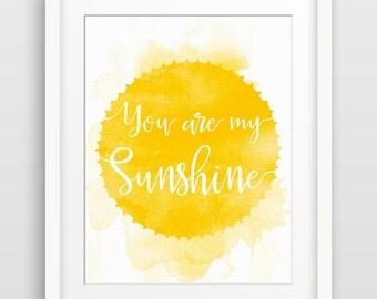 You Are My Sunshine, Nursery Decor, Kids Room Decor, Baby Shower Gift, Children's Art, Gender Neutral, Song Lyric Art