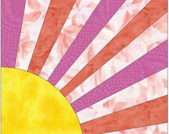 Harvest Sun Paper Piece Templates Quilting Block Pattern