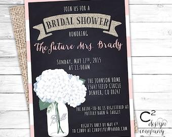 Rustic Hydrangea Bridal Shower Invitation
