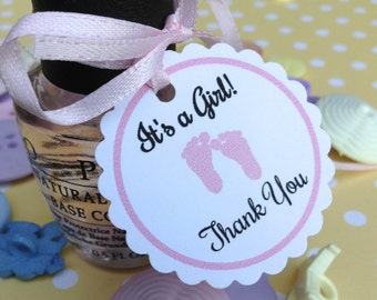 SETS OF 20, mini thank you tags, polish tags, baby shower favor tags, gender reveal tags, thank you tags, its a boy, its a girl, footprint