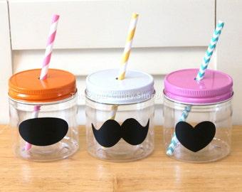 Plastic Mason Jars, Mason Jar straw Lids, 8oz, Set of 10, Pink Lemonade Party, Kids Party Cups, Wedding favors, Baby Shower, rustic Favors