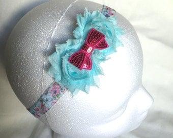 Aqua Shabby Flower Elastic Headband