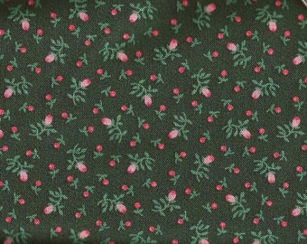 Forest Green Rosebud Print Cotton Fabric / 2 yards