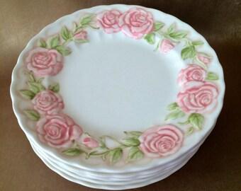 Metlox Vernon Rose, Salad Plates, Pink Rose Dishes, Metlox Poppytrails, Vintage Metlox, Metlox of California, Shabby Style Dishes, Feminine