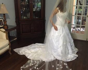 Wedding Cathedral Veil- Organza Petals Bridal Veil
