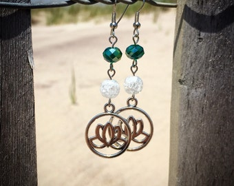 Silver Lotus Dangle Earrings with Green Crystals