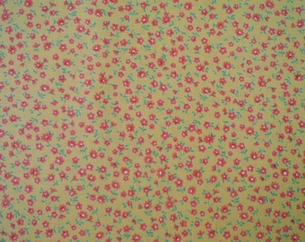 "Half Yard of Lecien Old New 30's Collection Fabric Tiny Floral on Orange-Yellow Background.  Approx 18"" x 44"" Made in Japan"