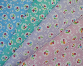Bundle of 1/8 Bandana by Me and My Sister for Moda Cherries Fabric in 4 colorways.