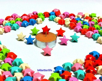 500pcs Hand-folded Origami Lucky Stars In Assorted Colors. #C142a. (XT paper series).