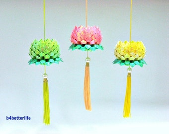 3pcs Size Small Origami Hanging Lotus In Assorted Colors. (TX paper series).