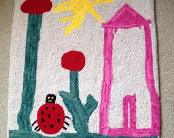 Hooked Wool Rug - Child's Artwork - Designed from Children's Original Painting or Drawing - Custom made -  All done by hand -  Heirloom