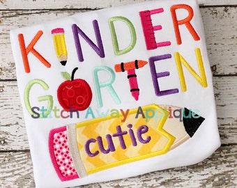 Kindergarten Cutie Back to School Machine Applique Design