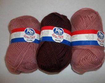 Vintage Set of 3 Lana Moro Yarn, Pelage Yarn, Maroon and Dustry Rose Yarn, Wool and Acrylic Yarn