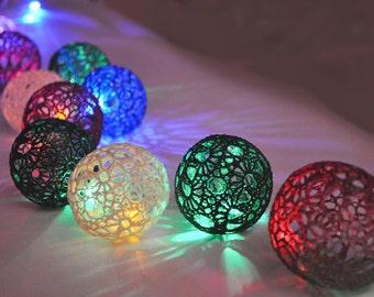 Christmas lights, Night Lights, Bedroom Decor lamps, Fairy Lights, String Lights,  20 Lace Crocheted  colorful balls, garland light