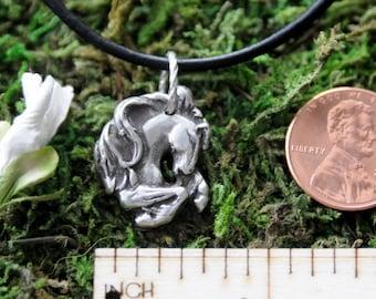 Fine Silver Metal Clay Regal Horse Pendant Charm Necklace