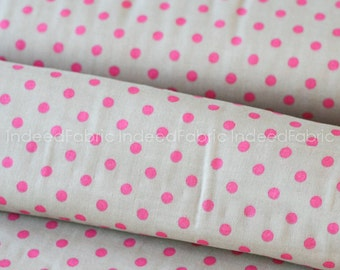 20% Off // DOUBLE GAUZE- Dotted Pink on Gray Double Gauze, Color Basic Double Gauze Collection, Lecien Japan, By the Half-Yard