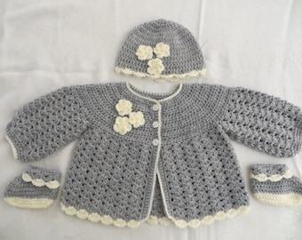 Baby girl sweater set, baby girl layette