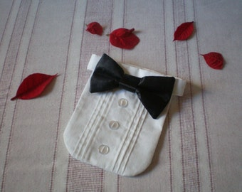Tuxedo Shirt and Satin Bow Tie on Collar Will Fit Neck 8 - 15.5 Inches Puppy Dog Collar Chihuahua Pomeranian Chinese Crested Pug