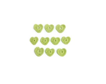 Crochet Hearts 10 pcs, 100% cotton quality yarn, light green, applique
