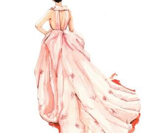 Custom fashion sketch, custom fashion drawing, watercolor fashion sketch