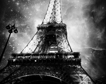 Eiffel Tower Wall Art, Paris Eiffel Tower Photo at Night in Black and White Eiffel Tower Decor,  Paris Print