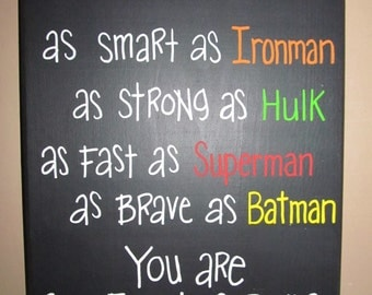 Super hero daddy wooden sign, personalized (hand painted, free hand)