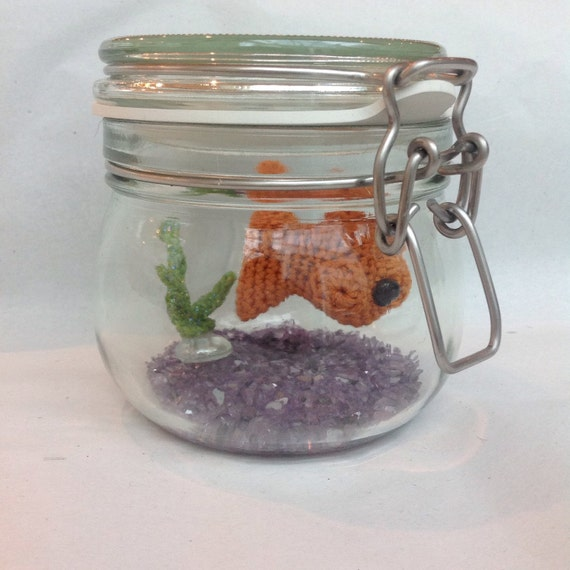 No fuss fish crochet goldfish in a glass jar etsy for Fish in a jar