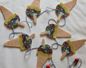 Set of Ice Cream Bunting - 1.5metres long