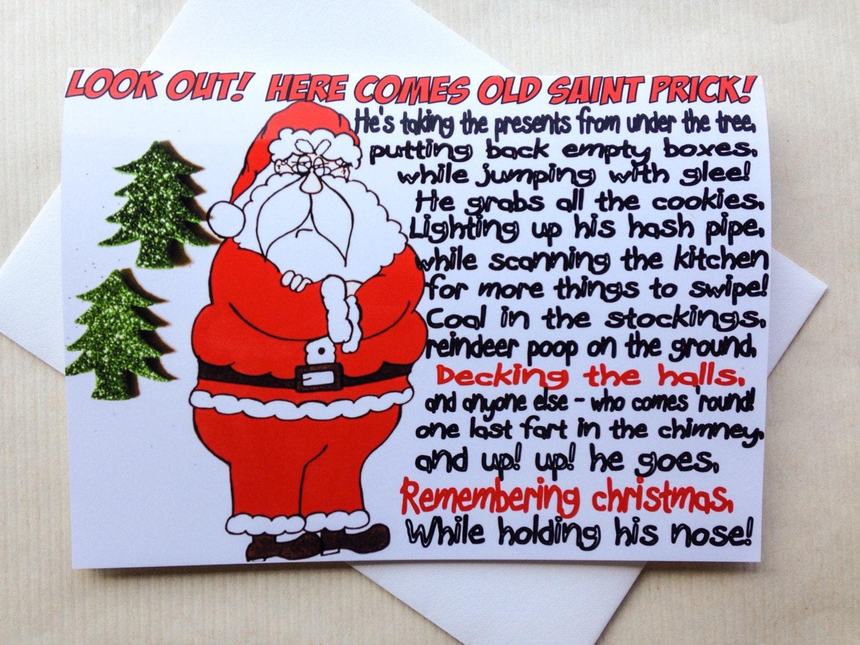 Funny Christmas Card Sarcastic Santa Original Hand Drawn