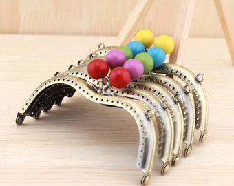 1 PCS, 11cm / 4.4 inch Width Cute Solid Crown Beaded Curved M Shape Brass Sew in Purse / Kiss Clasp Lock Purse Frame, K215