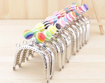 1 PCS, 7.5cm / 3 inch Arched Colorful Striped Bubble Silver Kiss Clasp Lock Purse Frame, C24