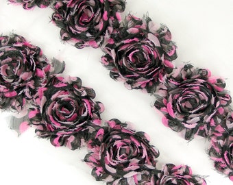"Rose Trim - ""Black with Pink hearts pok-a-dots""  Shabby Chiffon Flower, shabby flower trim, shabby chiffon rose trim, shabby trim"