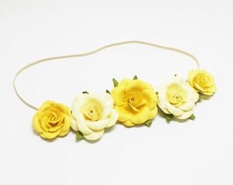 Baby halo headband with yellow flowers, baby flower halo, flower headband, baby girl headband, baby shower gift, baby photo prop