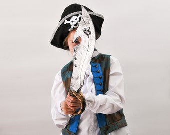 Kids Pirate Costume: Vest and Trousers in sumptuous Damask and twill to fit any little Jack Sparrow
