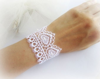 Lace bracelet, white lace cuff bracelet with hearts, embroidered lace bracelet, white bridal lace bracelet, bridesmaid bracelet