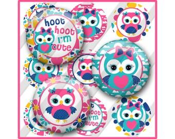 Owl Bottle Cap Image Sheet, Cute Hoot Sayings Printable
